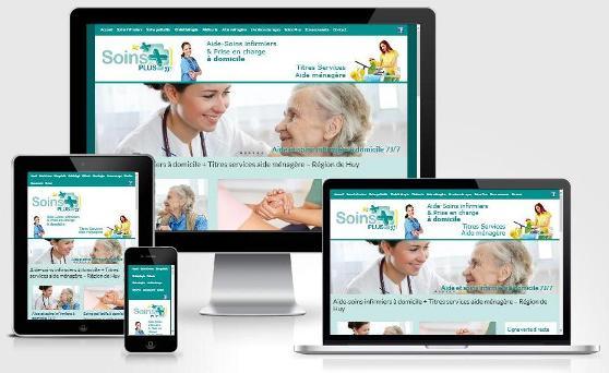 Site responsive créé avec WordPress pour Soins Plus (Huy - Province de Liège)