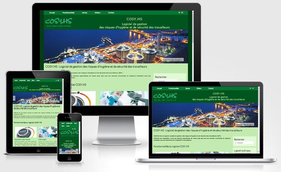 Site responsive créé avec WordPress pour COSY.HS (Fimor - Belgique)